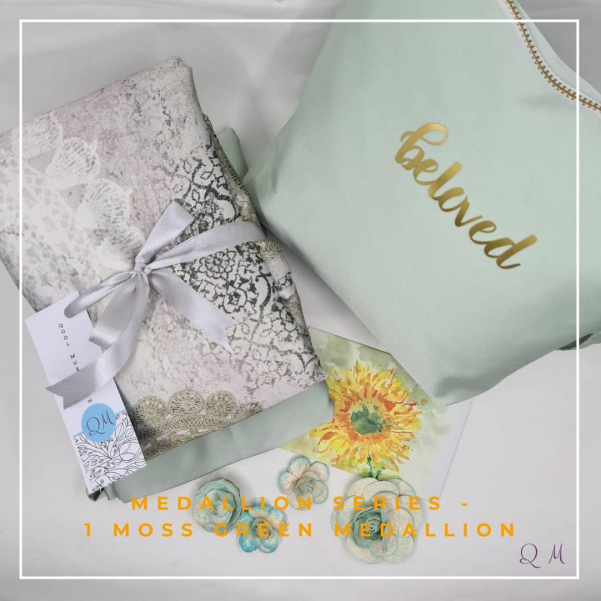 P14. Telekung Armani Silk Medallion Series - Moss Green Medallion - Qool Muslimah