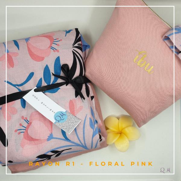 Telekung / Mukena Rayon - Floral Pink - Qool Muslimah
