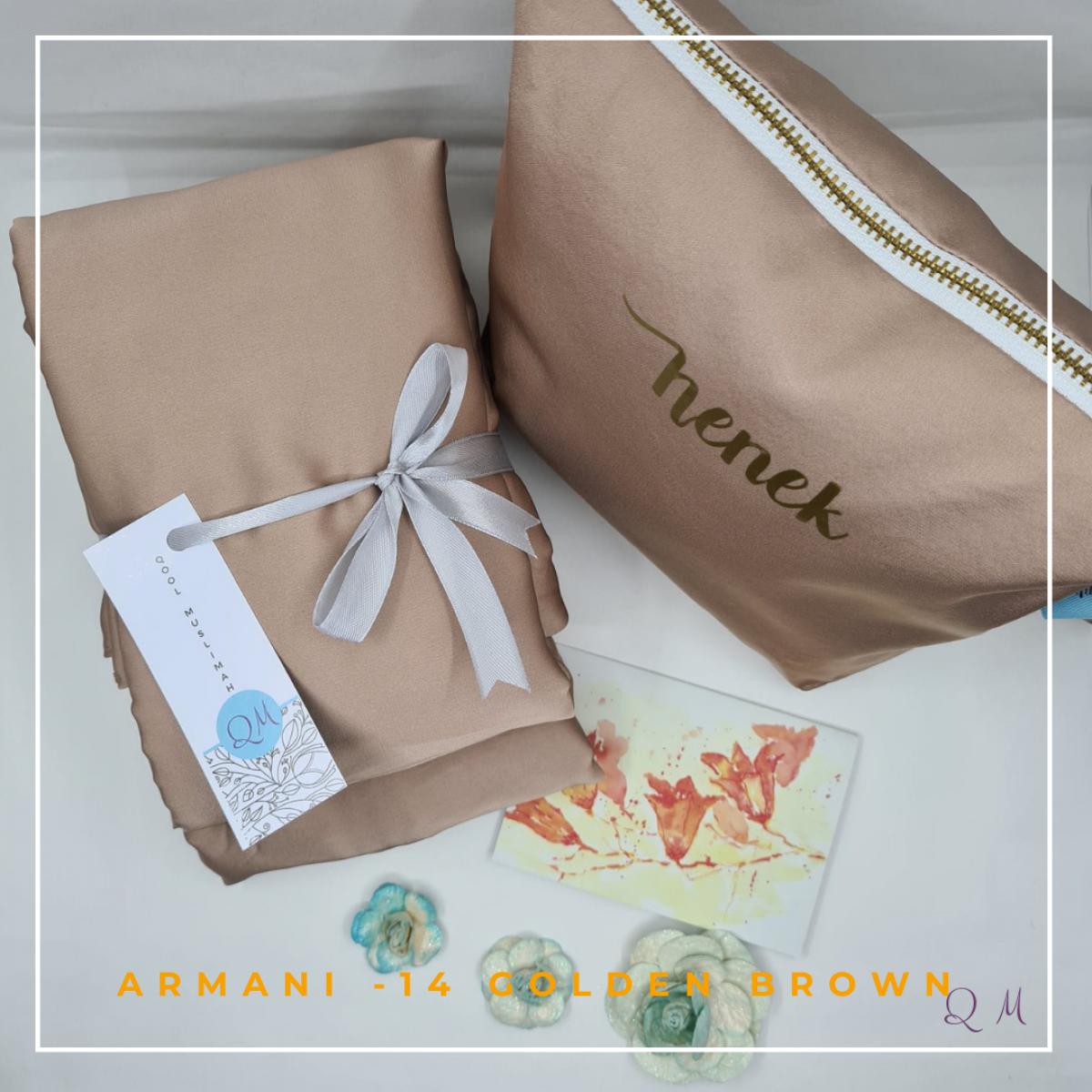 14. Telekung / Mukena Armani Silk - Golden Brownish - Qool Muslimah