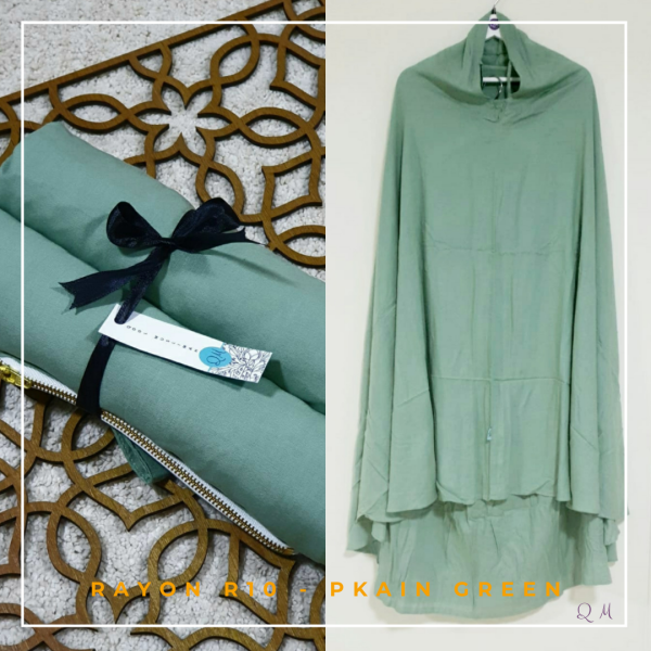 Telekung / Mukena Rayon - Plain Green - Qool Muslimah