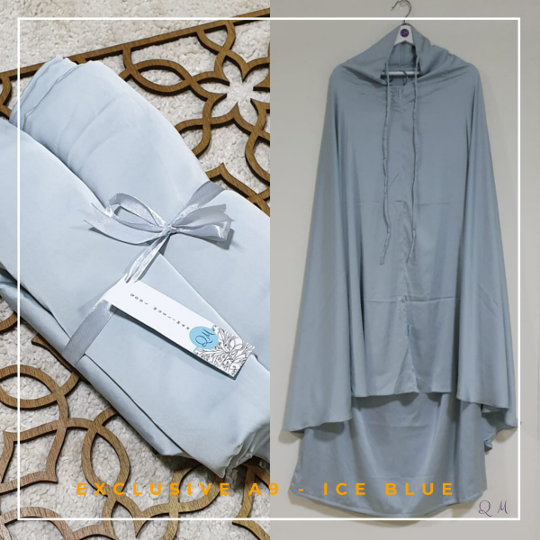 Telekung / Mukena Armani Silk - Ice Blue - Qool Muslimah