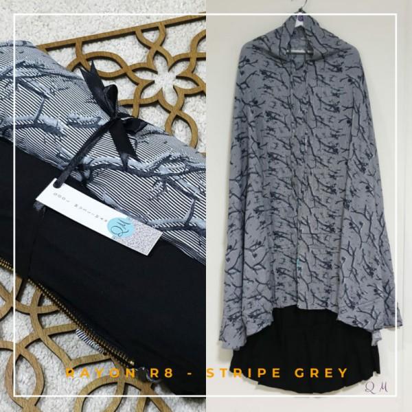 Telekung / Mukena Rayon - Strip Grey - Qool Muslimah