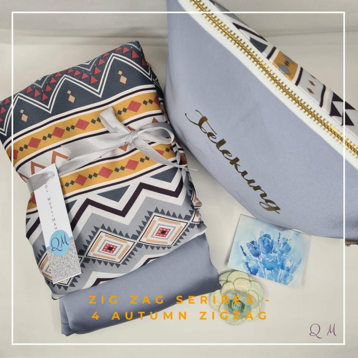 P31. Telekung/Mukena Armani Silk Zigzag Series - Autumn - Qool Muslimah