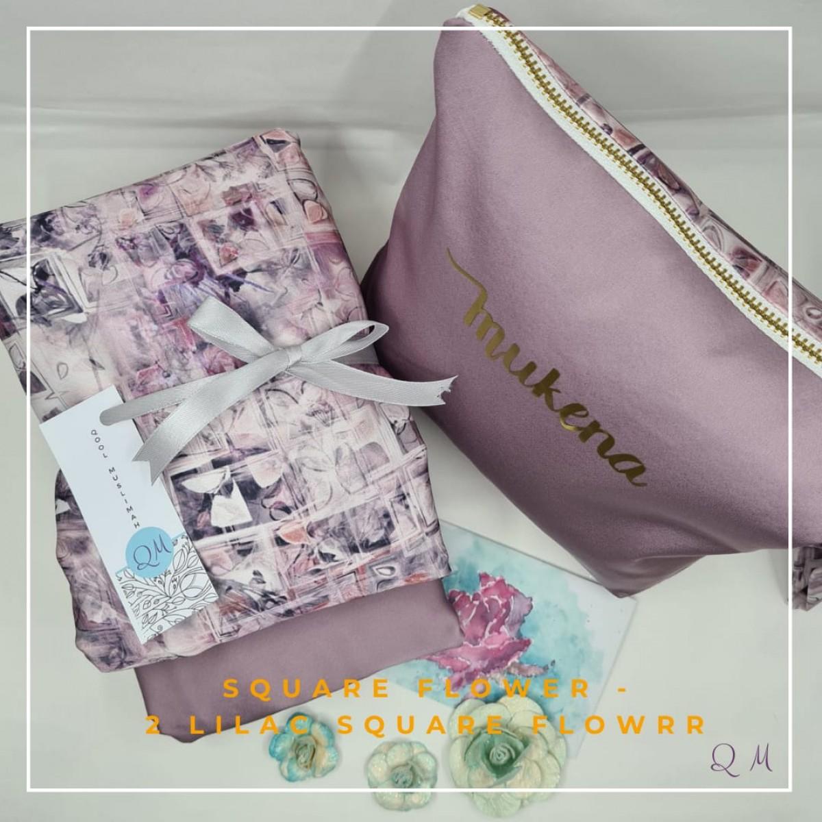 P8.Telekung/Mukena Armani Silk Square Floral-Lilac Square Floral - Qool Muslimah
