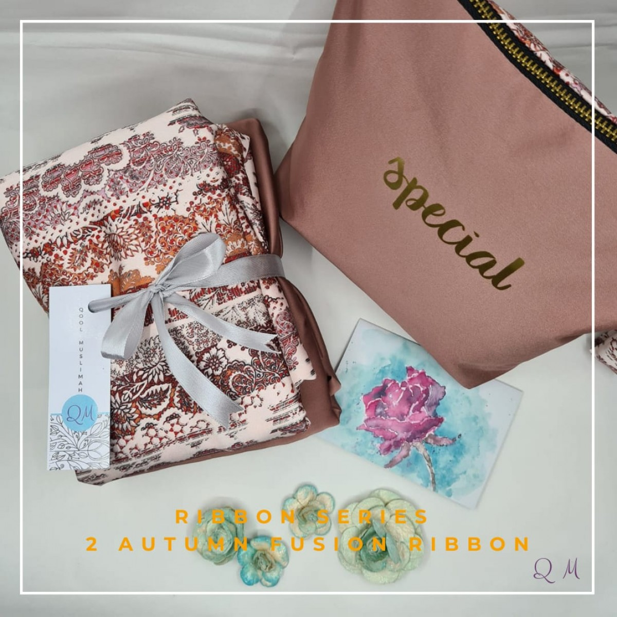 P10. Telekung Armani Silk Ribbon Series - Autumn Fusion Ribbon - Qool Muslimah