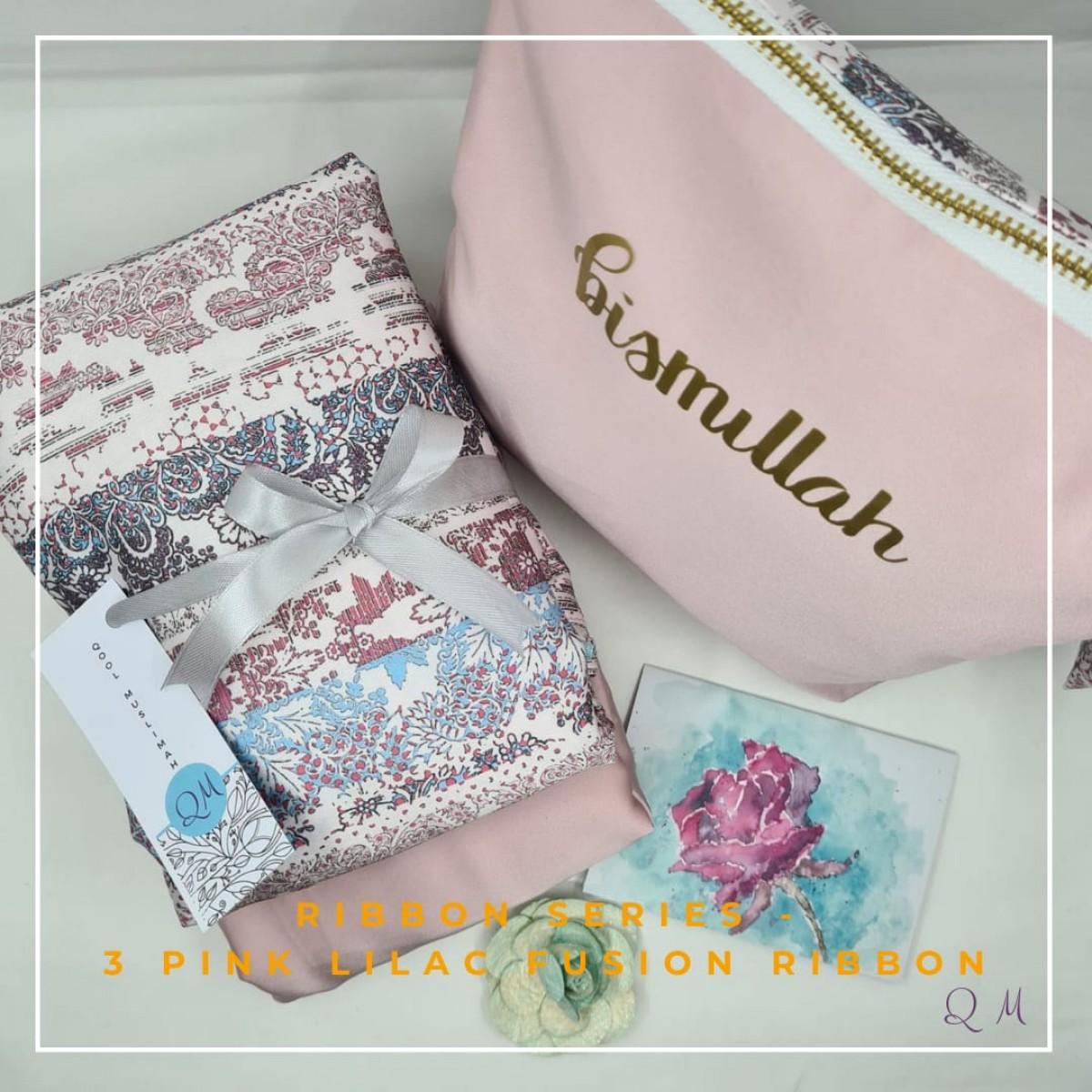 P11.Telekung Armani Silk Ribbon Series - Pink Lilac Fusion Ribbon - Qool Muslimah