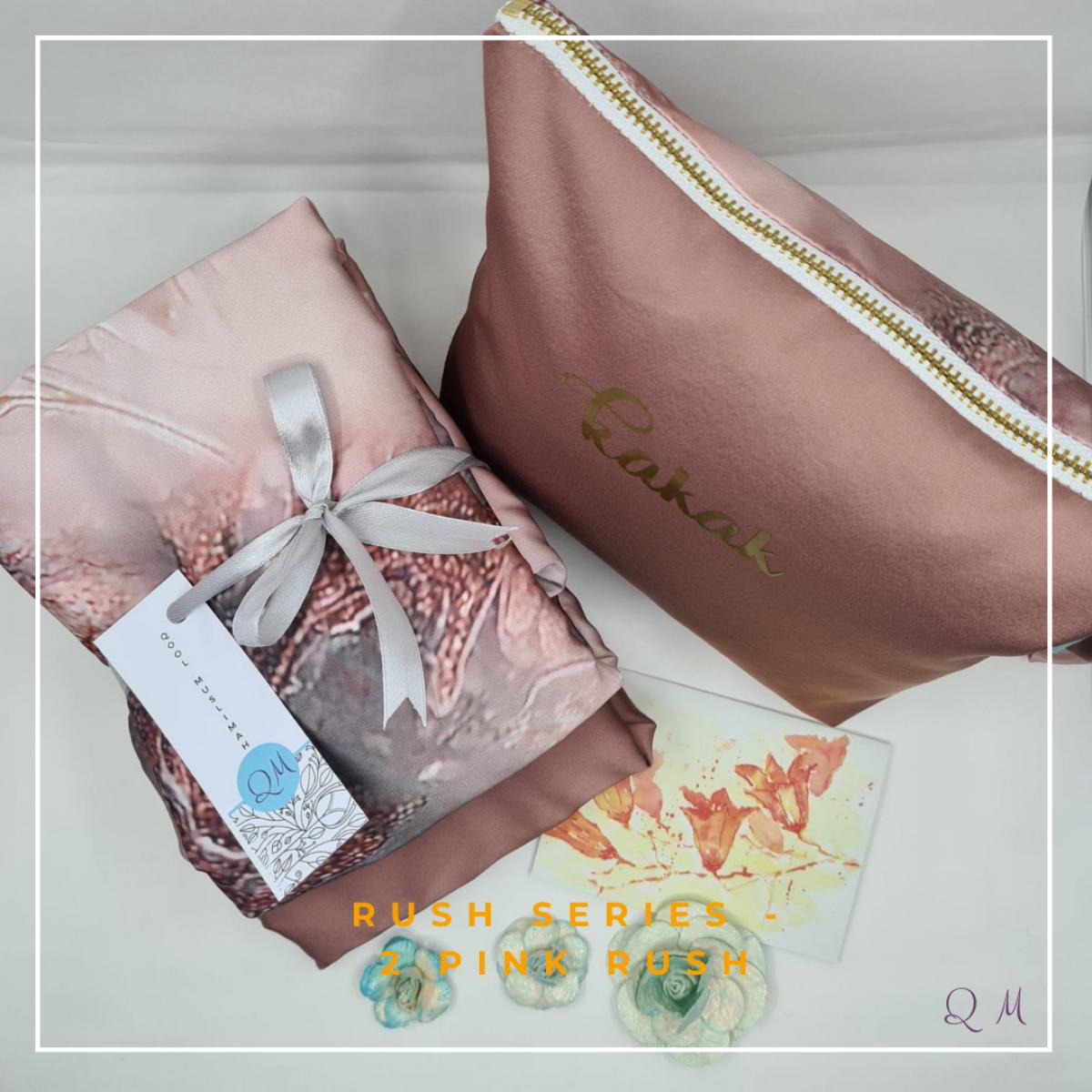 P21. Telekung/Mukena Armani Silk Rush Series - Pink Rush - Qool Muslimah