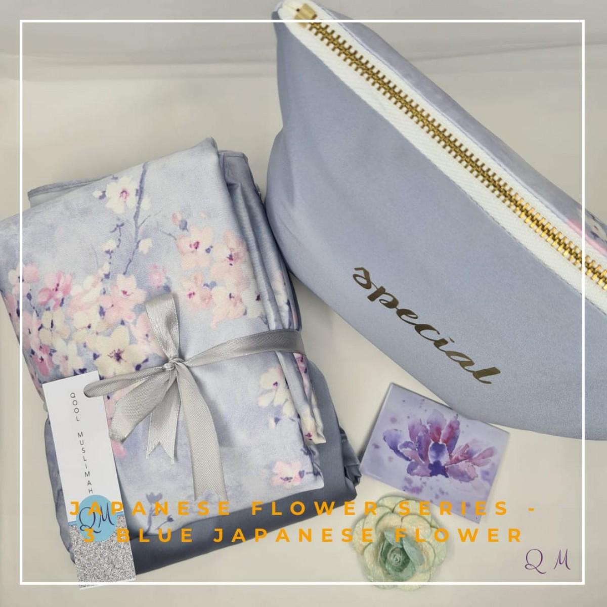 P34. Telekung/Mukena Armani Silk - Blue Japanese Flower - Qool Muslimah