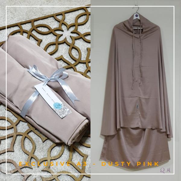 Telekung / Mukena Armani Silk - Dusty Pink - Qool Muslimah