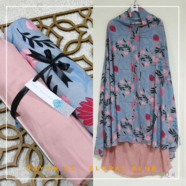 Telekung / Mukena Rayon - Floral Blue - Qool Muslimah