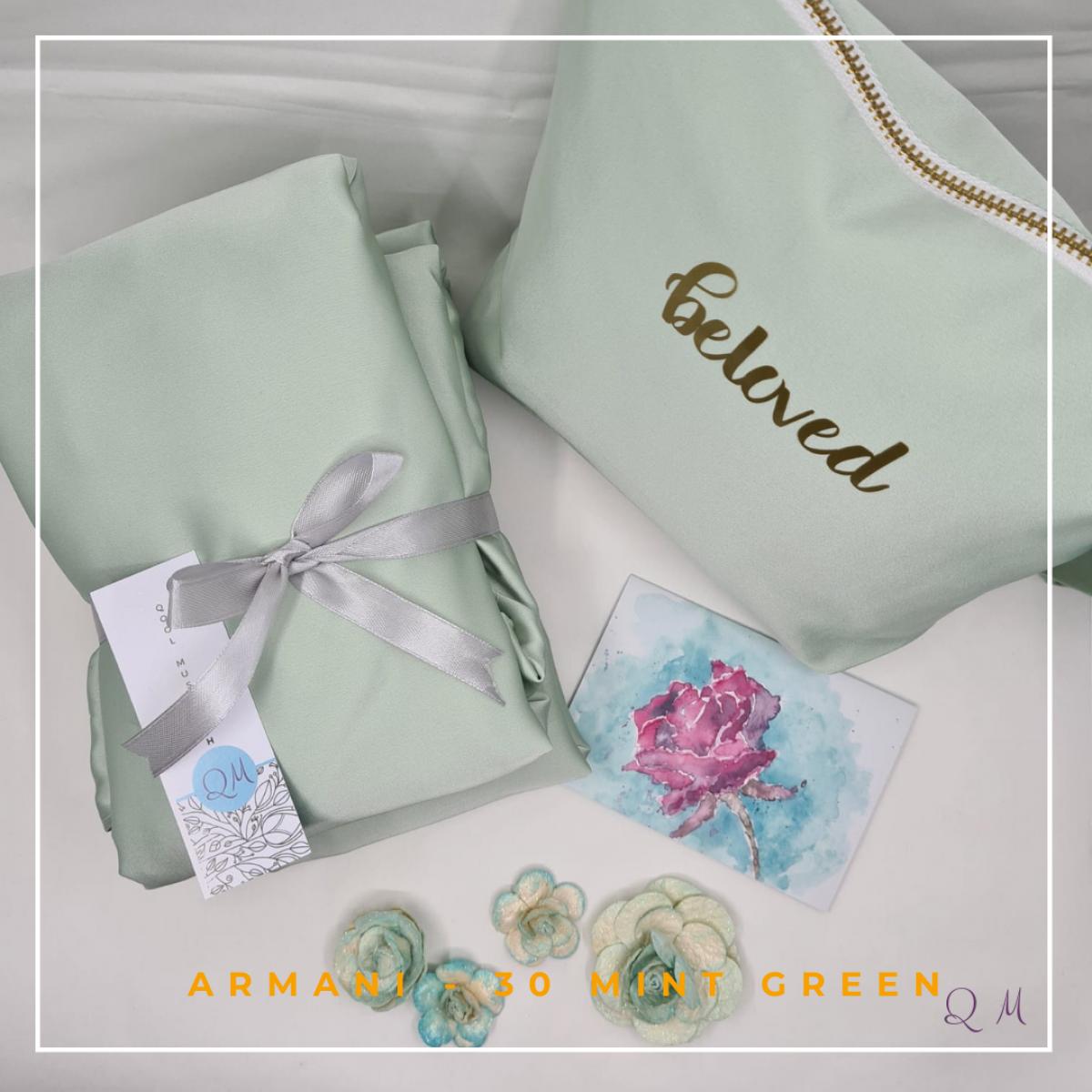 30. Telekung/Mukena Armani Silk - Mint Green - Qool Muslimah