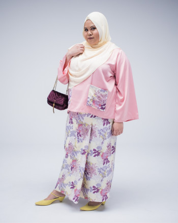 D+Co Apparels - Sofia Kurung Kedah in Yellow Lilac - Virtual CelebFest
