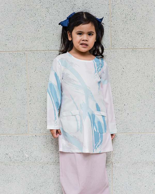 Adrianna Yariqa - Girl's Slim Kurung in Navy - Virtual CelebFest