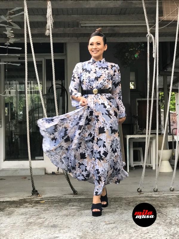 Mila Musa - Princess Maxi Shirt Dress Scandinavian Flowers - Virtual CelebFest