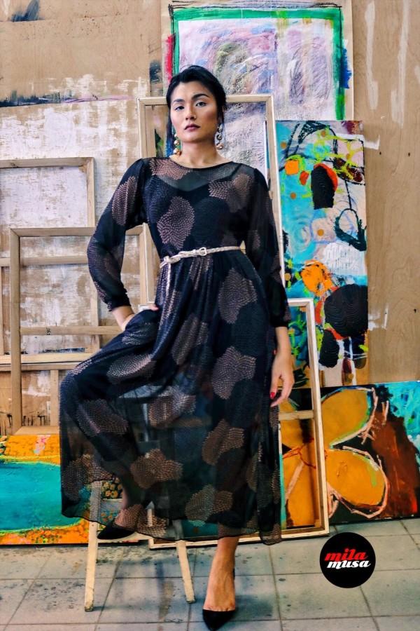 Mila Musa - Princess Mesh Dress Black Gold  - Virtual CelebFest