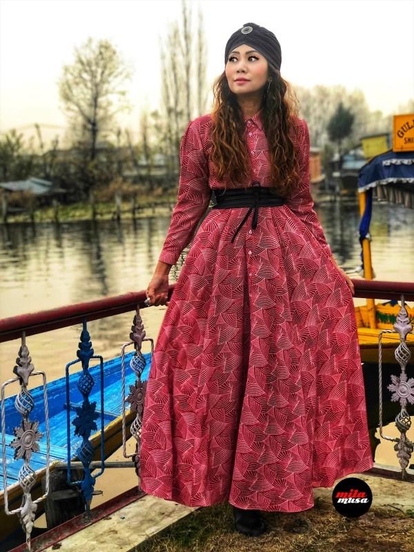 Mila Musa - Princess Maxi Shirt Dress  Red Japanese Fan - Virtual CelebFest