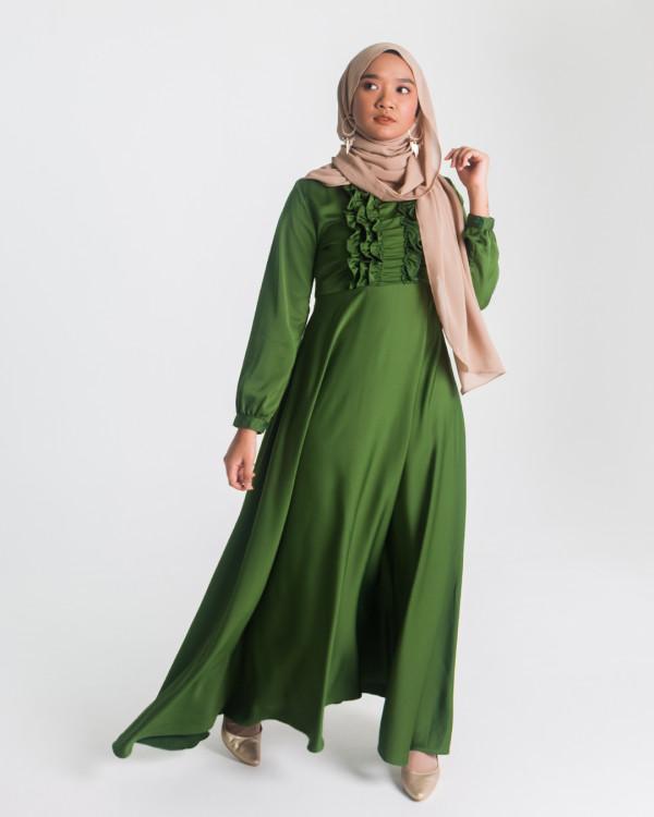 Zaryluq - Ruffle Dress in Emerald Green - Virtual CelebFest