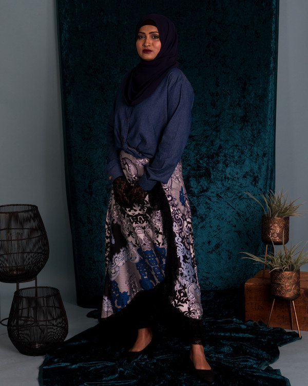Zaryluq - Baroque Lacy Skirt in Blue Orchid - Virtual CelebFest