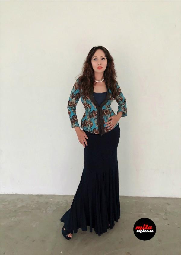 Mila Musa Princess Kebaya English Cotton Batik in Blue - Virtual CelebFest