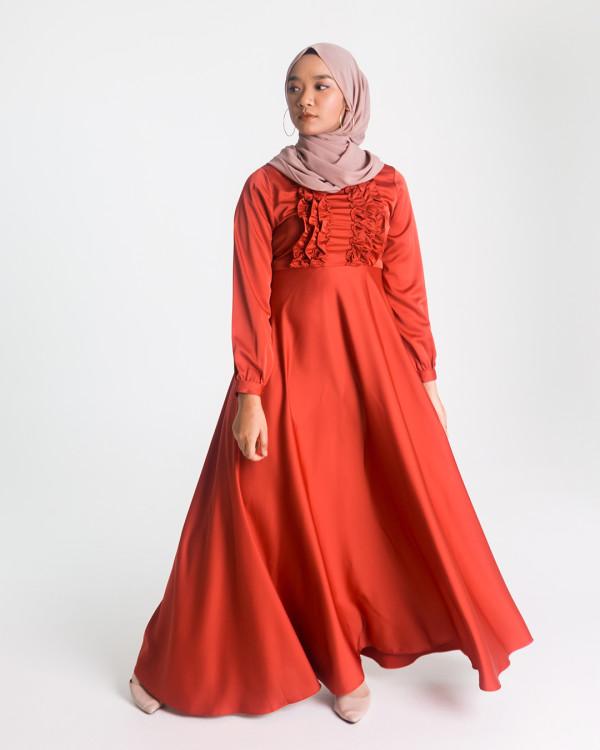 Zaryluq - Ruffle Dress in Terracotta Red - Virtual CelebFest
