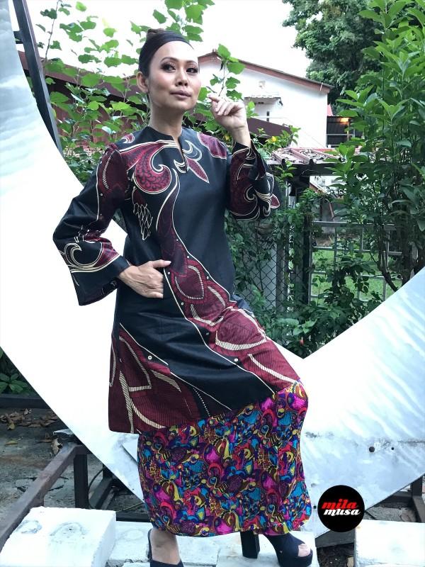 Mila Musa - Princess Pahang Black African Batik - Virtual CelebFest