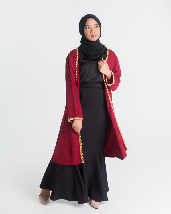 Zaryluq - Nida Beads Outer in Maroon - Virtual CelebFest