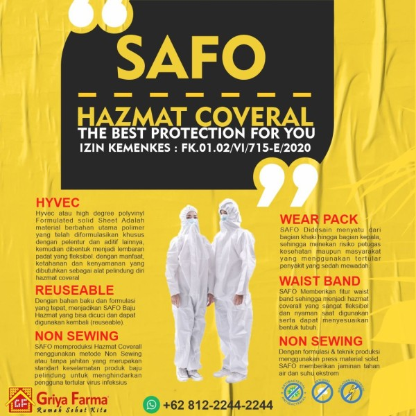 SAFO HAZMAT COVER ALL DENGAN STANDAR KEMENKES - GriyaFarmaOnline