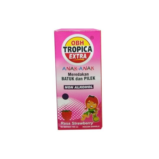 OBH TROPICA PLUS ANAK RASA STRAWBERRY SIRUP 100 ML - GriyaFarmaOnline