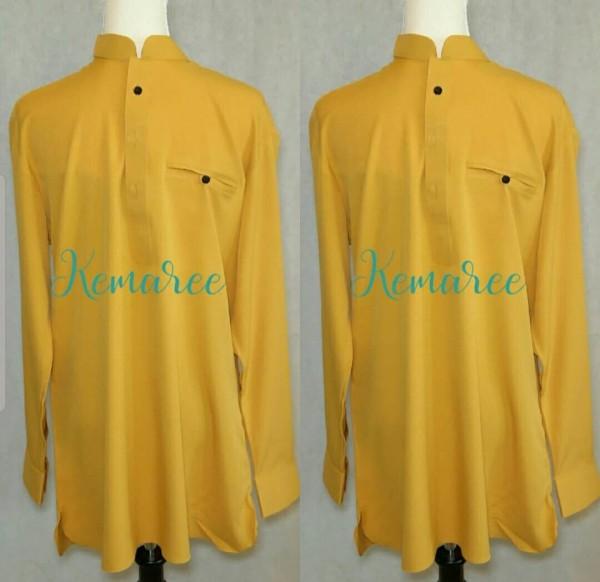 Baju Kurta lelaki (Top only) - mustard - Kemaree