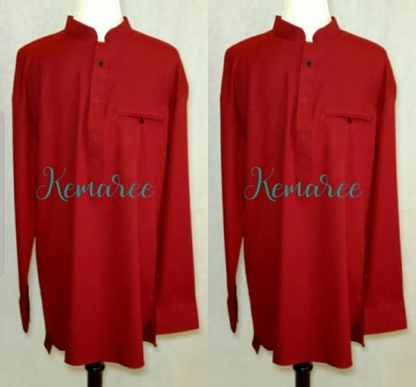 Baju Kurta lelaki (Top only) Maroon - Kemaree