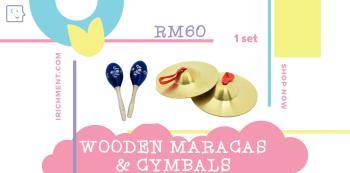 WOODEN MARACS & CYMBAL - 1 SET