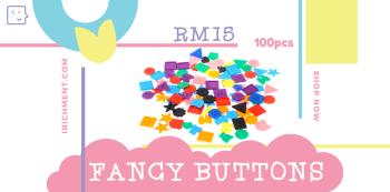 FANCY SHAPES BUTTON - 100 PCS