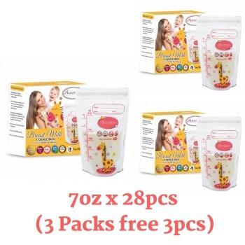 3 Packs Autumnz Double ZipLock Breastmilk Storage Bag 7oz