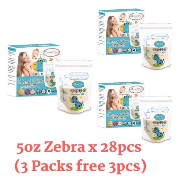 Autumnz Double ZipLock Breastmilk Storage Bag (28 bags) *5oz* ( Z - Baby Care Malaysia