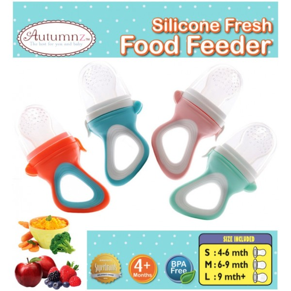 Autumnz Silicone Fresh Food Feeder *comes with 3 Silicone Sacs S, M & L* Baby Food Feeder (Orange) - Baby Care Malaysia