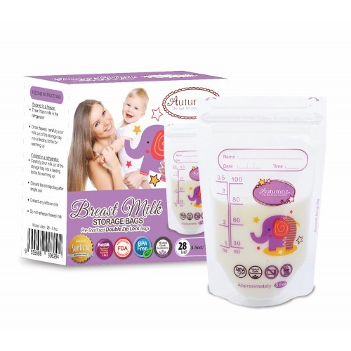Autumnz Double ZipLock Breastmilk Storage Bag (28 bags) *3.5oz* ( - Baby Care Malaysia