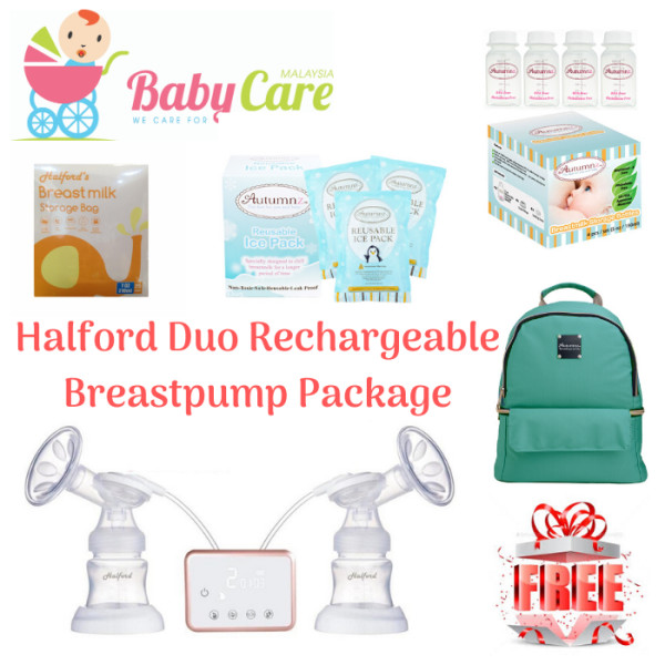 HALFORD Duo Rechargeable Breast Pump with Cooler Bag Package - Baby Care Malaysia