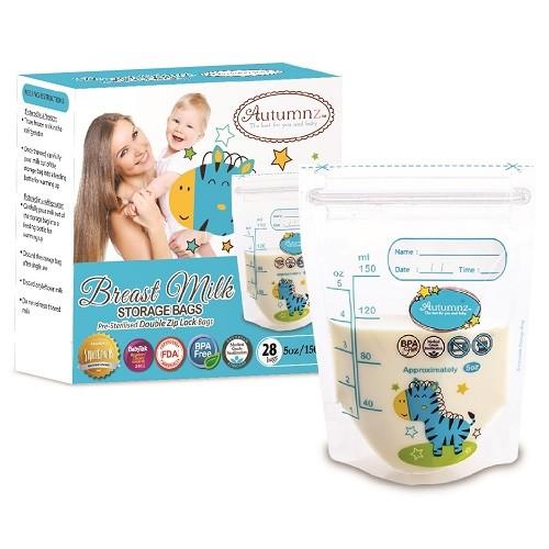 Autumnz Double ZipLock Breastmilk Storage Bag (28 bags) *5oz* ( Z - Baby Care Malaysia