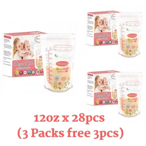 3 Packs Autumnz Double ZipLock Breastmilk Storage Bag 12oz - Baby Care Malaysia