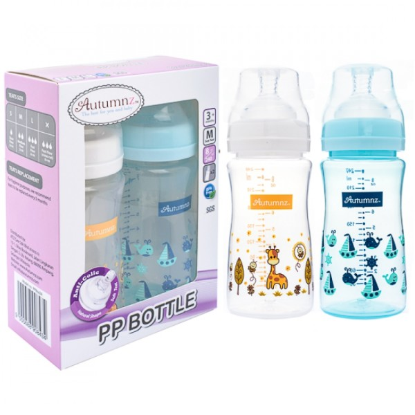 Autumnz PP Wide Neck Feeding Bottle 6oz/180ml (Twin Pack) *Ellie - Baby Care Malaysia