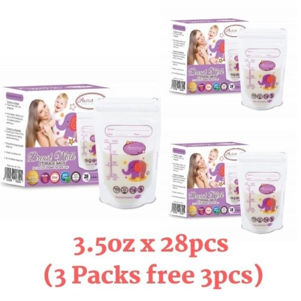 3 Packs Autumnz Double ZipLock Breastmilk Storage Bag 3.5oz - Baby Care Malaysia