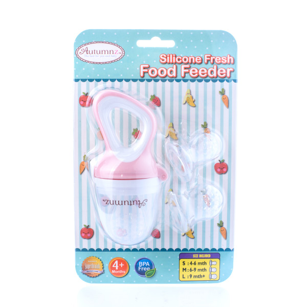Autumnz Silicone Fresh Food Feeder (Blue) *comes with 3 Silicone Sacs S, M & L* (Pink) - Baby Care Malaysia