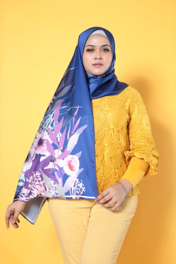 #AFBLOSSOM PRINTED SHAWL IN ROYAL BLUE