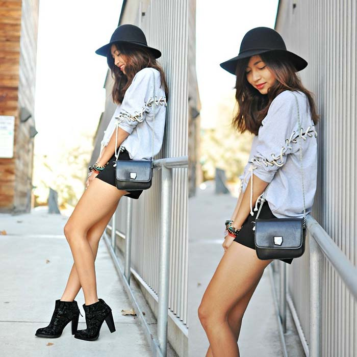 how-to-style-denim-shorts-ankle-boots
