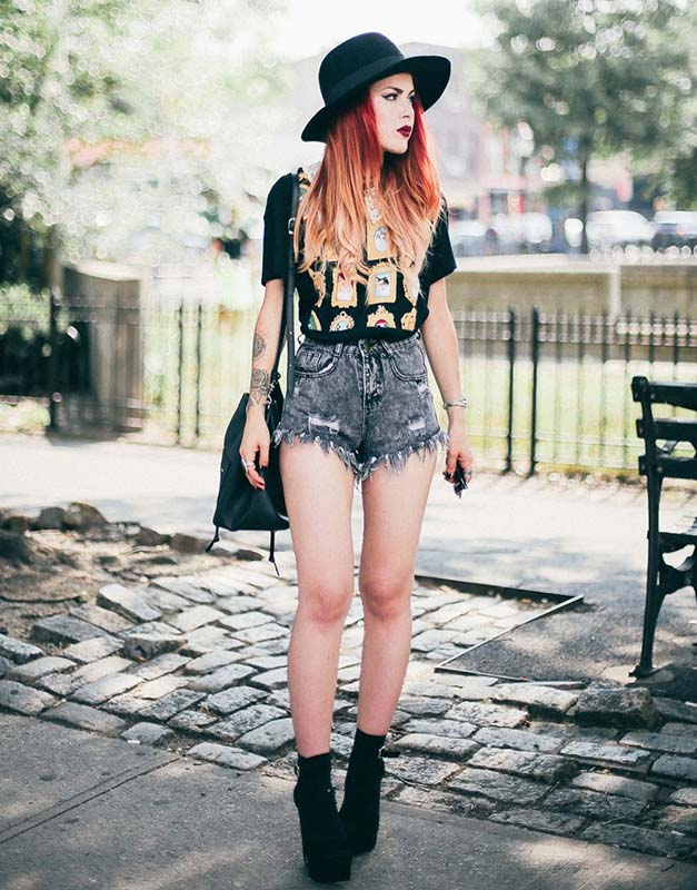 how-to-style-denim-shorts-fedora