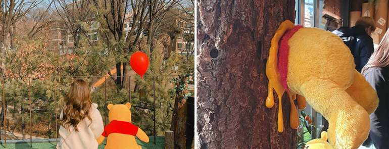 Winnie the Pooh themed cafe opens in Seoul and we can now enter Pooh Bear's tree house
