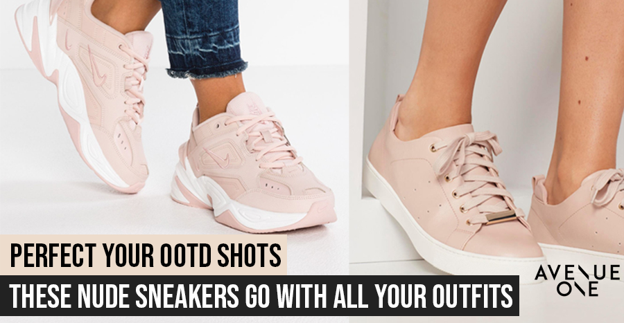 13 nude and champagne sneakers to