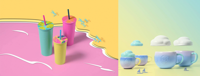 We are in love with these neon-coloured cold cups and cloud mugs from Starbucks. See the full collection here