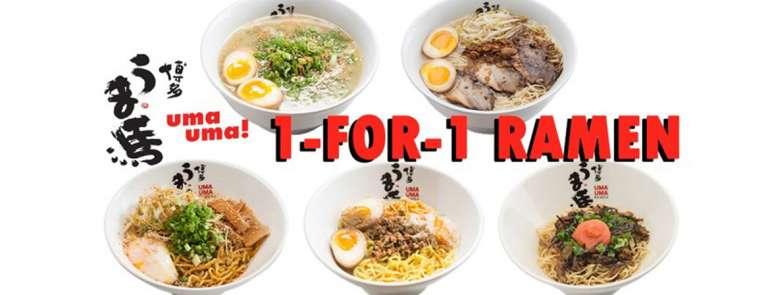 Grab a friend for 1-for-1 ramen at Uma Uma on 16 Aug!