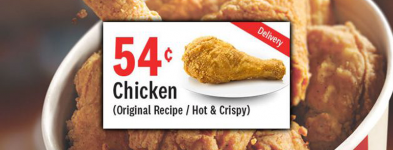 Savour KFC chicken delivered to your doorstep for ONLY SGD0.54